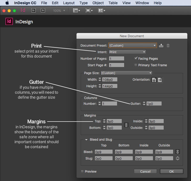 how to change margins in an indesign document