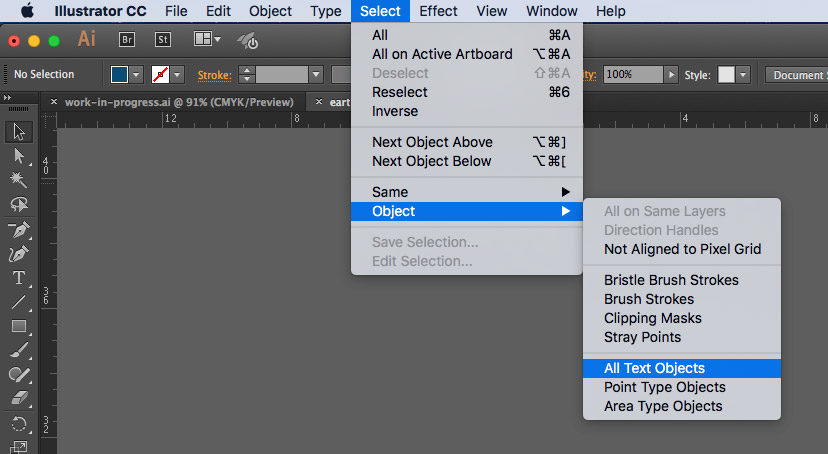 Select Text Layers for Outlines in Illustrator