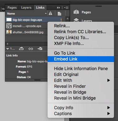 Embed Links in InDesign