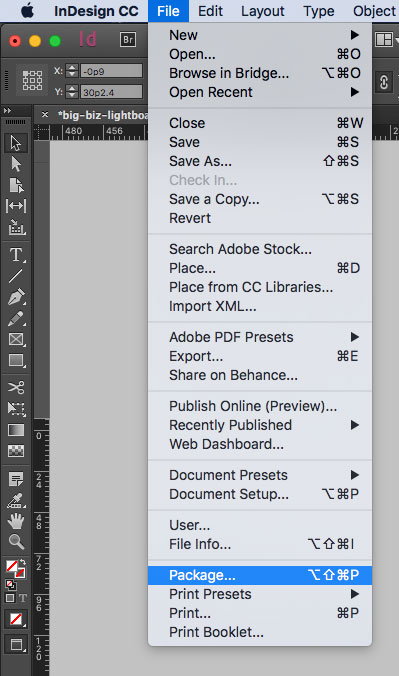 Package InDesign Files