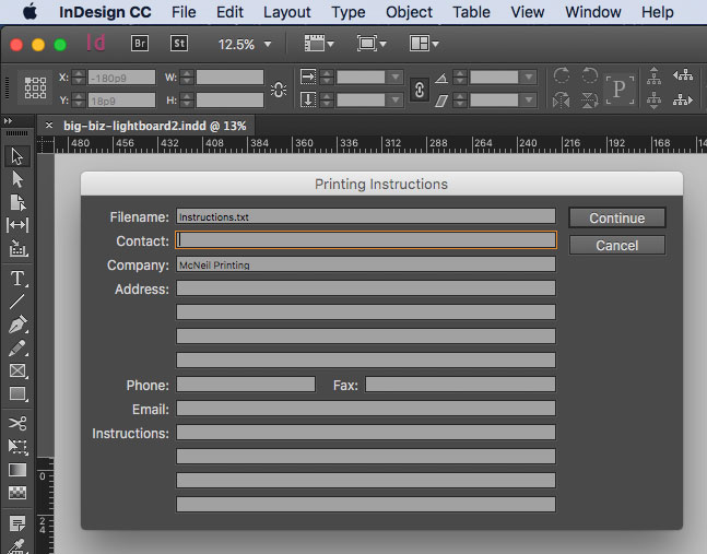 InDesign Printing Instructions